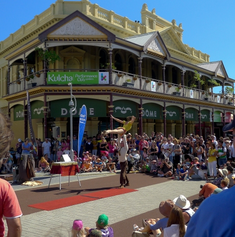 Busking against the backdrop of Fremantle's history.© Roger Garwood 2013