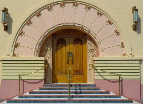 Napier, promoting itself as the world's Art Deco capital, attracts in excess of two million visitors a year.  This is the entrance to the Tobacco Company office © Roger Garwood 2013